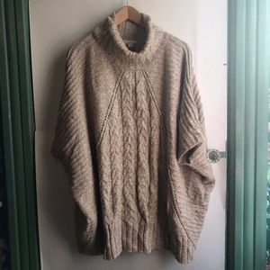 Brown White Cable Knit Cowl Neck Oversized Sweater